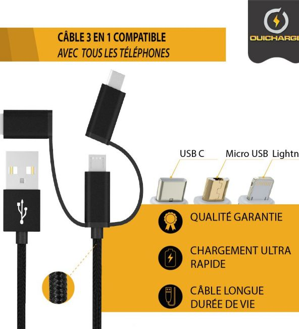 cable 3 en 1 pour borne de recharge pour téléphone